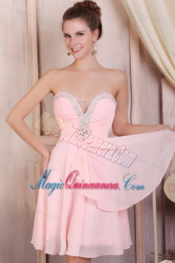 Baby Pink Empire Sweetheart Short Dama Dresses With Beading