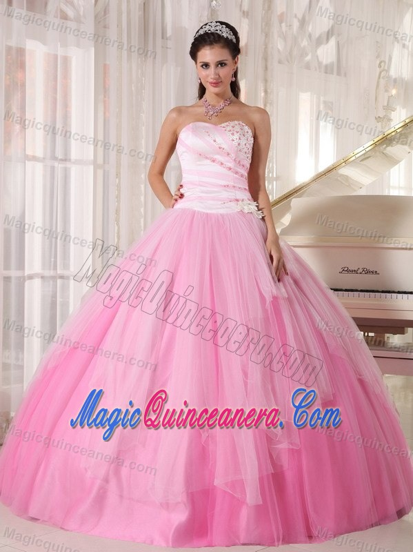 Pink Tulle Quinceanera Gowns Dresses With Beading In