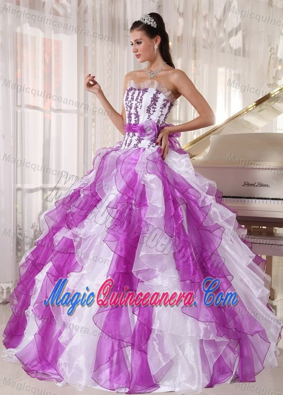 Lavender and White Dresses of 15 with Appliques and Puffy Ruffles ...