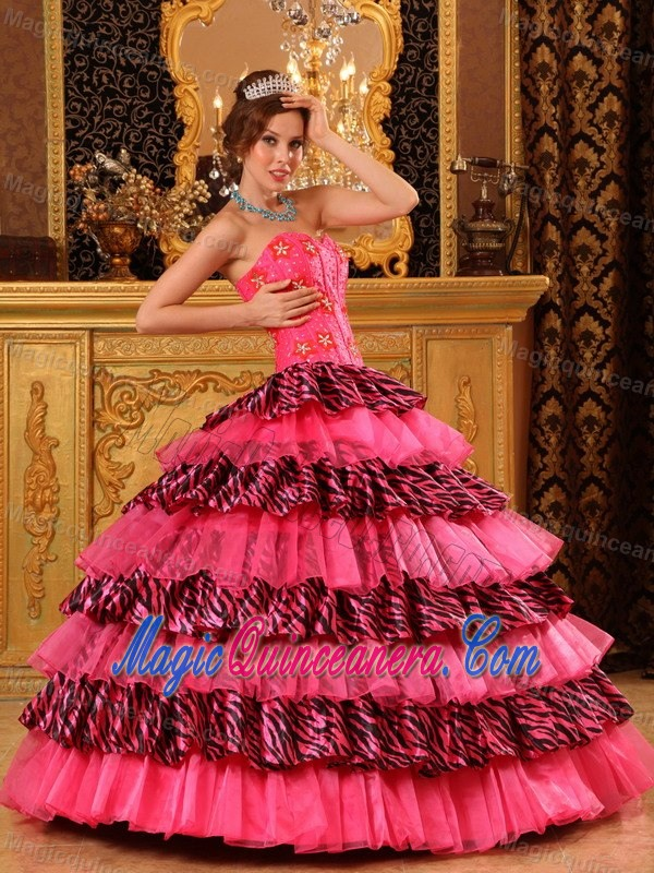 Hot Pink Dresses Quinceanera with Zebra Print Ruffles in Puerto ...