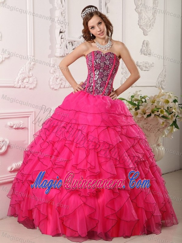 Beaded Bodice Hot Pink Dresses for Quinceaneras with Frilly ...