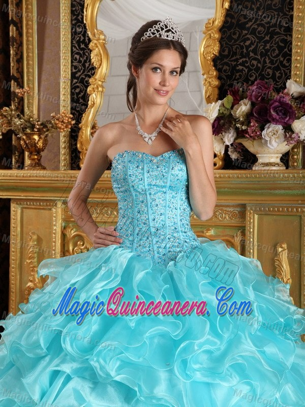 Beaded Bodice Ruffled Ball Gown Dresses for 15 in Aqua Blue 2015