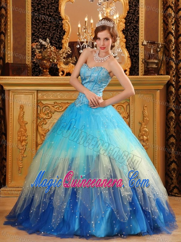 2015 Popular Colorful Tulle Sweetheart Dresses for 15 with Beading