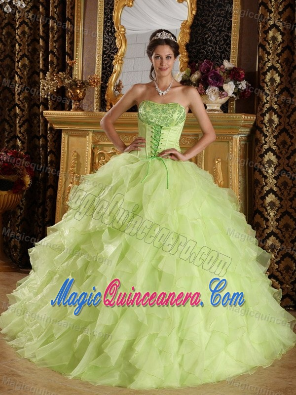 Yellow Green Strapless Dresses for 15 with Ruffles Beads in Anasco