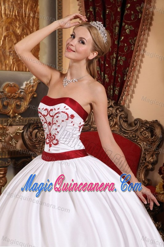 White and Red Sweet Sixteen Quinceanera Dresses with Embroidery ...