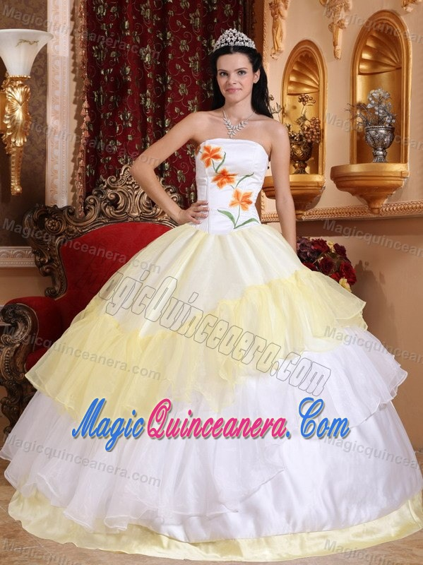 Embroidered White And Yellow Sweet Sixteen Dress In Puerto
