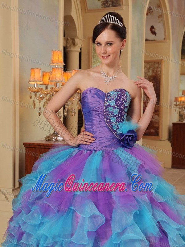 Lavender and Blue Organza Sweet 16 Dresses with Appliques Ruffles ...