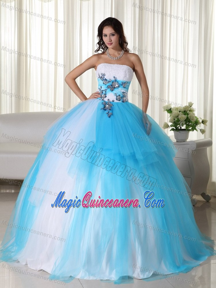 Appliques Accent Tulle Quinceanera Gown Dresses in White and Tulle
