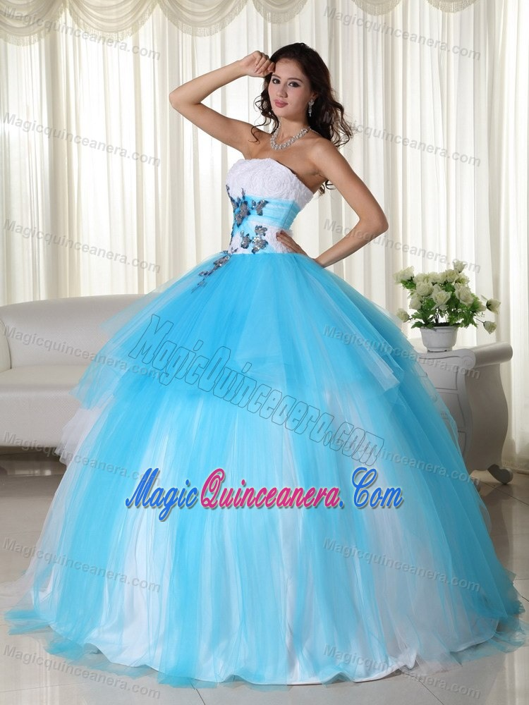 Appliques Accent Tulle Quinceanera Gown Dresses in White and Tulle ...