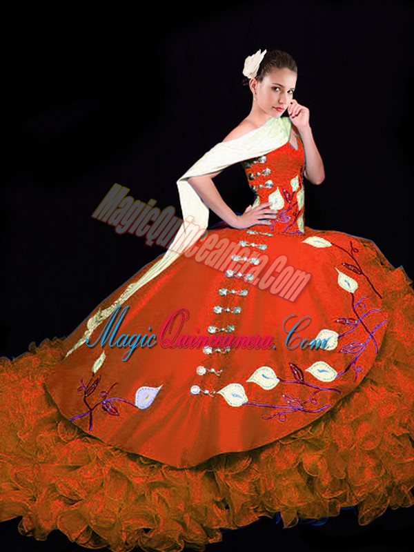 Exceptional Rust Red Sleeveless Taffeta Brush Train Lace Up Ball Gown Prom Dress for Military Ball and Sweet 16 and Quinceanera
