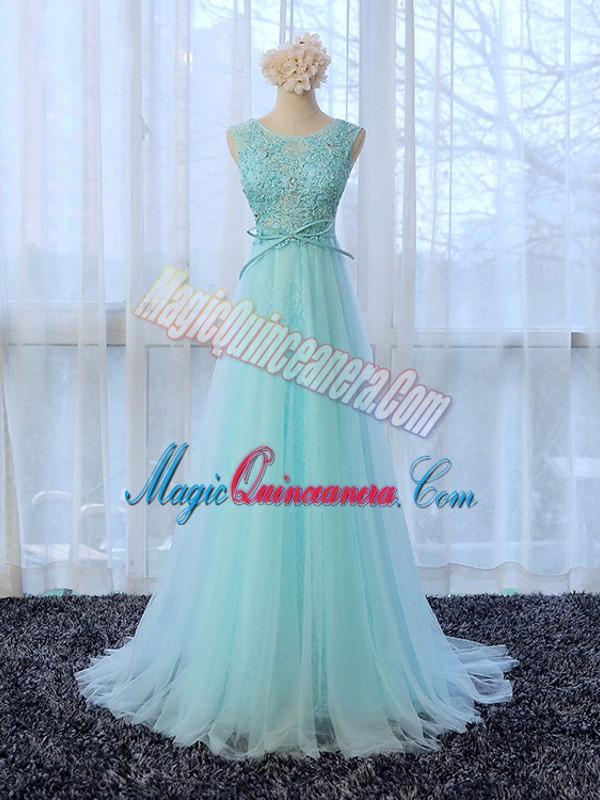 Sleeveless Lace and Bowknot Zipper Court Dresses for Sweet 16 with Apple Green Brush Train