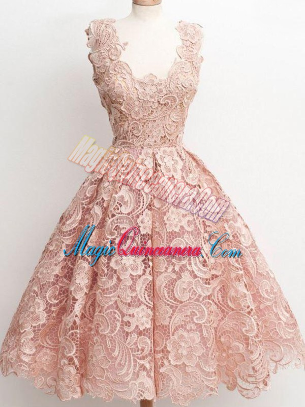 Stylish Lace Quinceanera Court Dresses Peach Zipper Sleeveless Knee Length