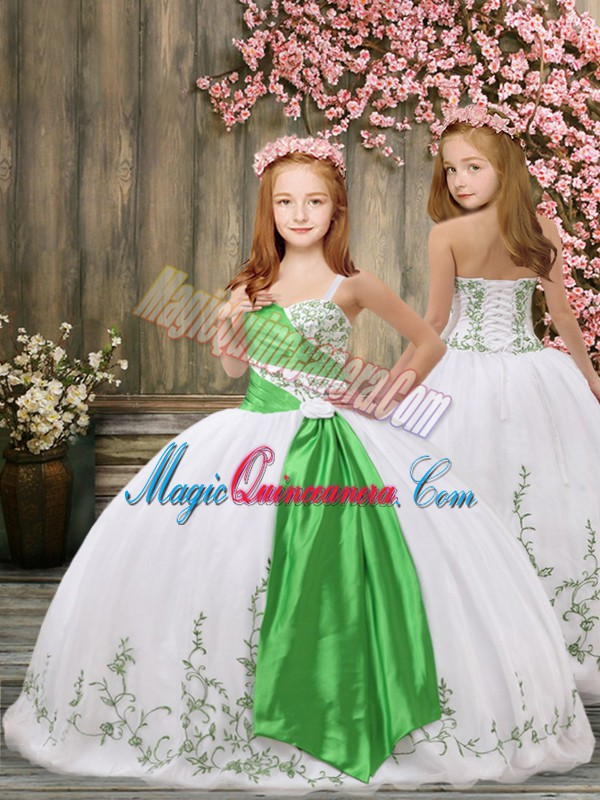 White Ball Gowns Embroidery and Belt Pageant Gowns For Girls Lace Up Organza Sleeveless Floor Length