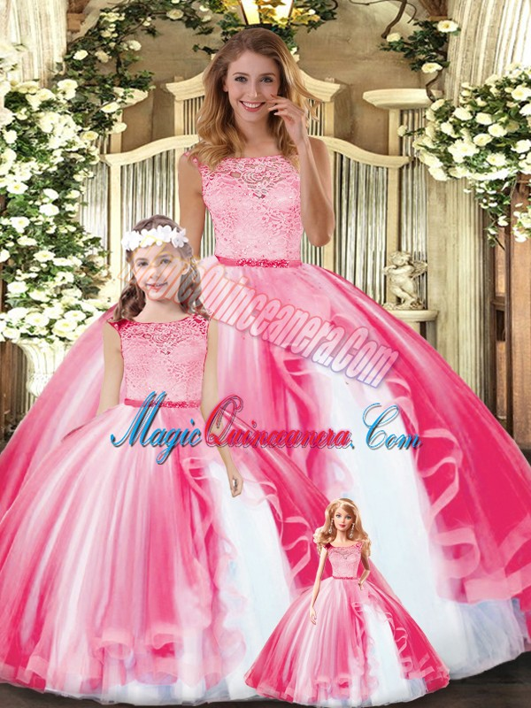 Custom Design Hot Pink Clasp Handle Vestidos de Quinceanera Lace and Ruffles Sleeveless Floor Length