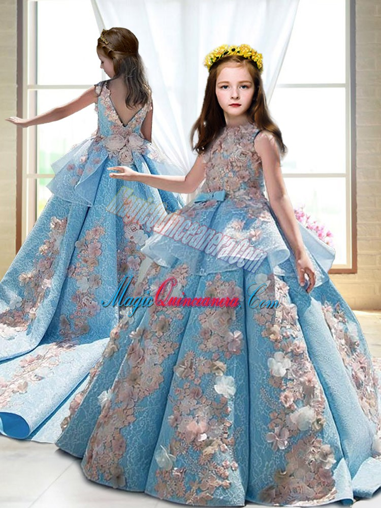 Blue Little Girl Pageant Gowns High-neck Sleeveless Court Train Backless