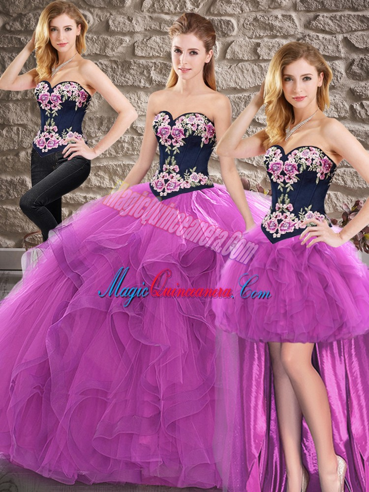 Superior Sleeveless Lace Up Floor Length Beading and Embroidery 15th Birthday Dress