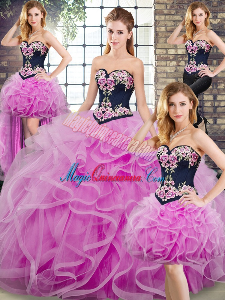 Inexpensive Lilac Sleeveless Sweep Train Lace Up Quinceanera Gown for Military Ball and Sweet 16