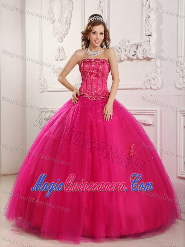 Traditional Ball Gown Hot Pink Beaded Sweet Sixteen Dresses ...