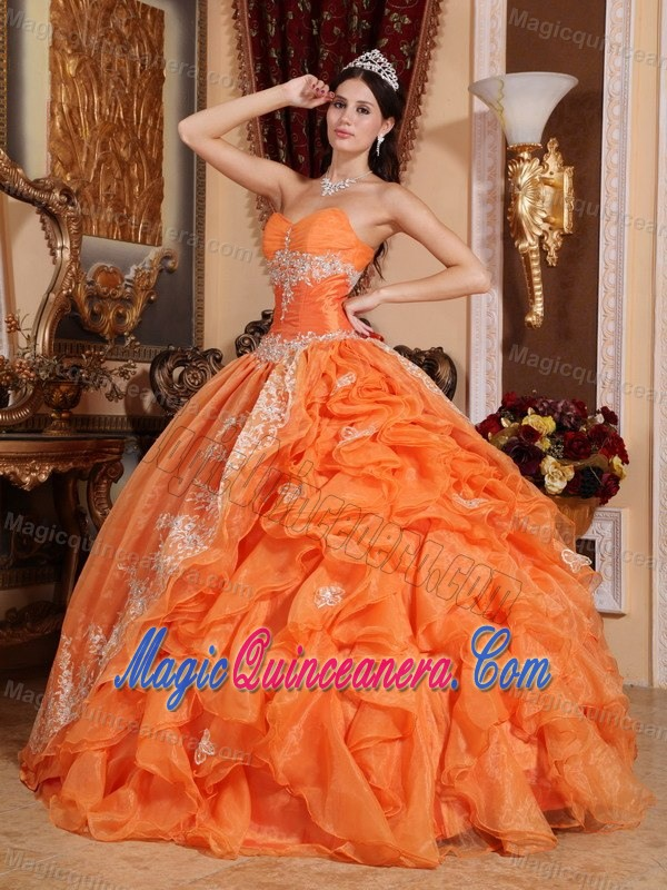 Orange Red Ruffled Appliqued Quinceanera Gown Dresses online