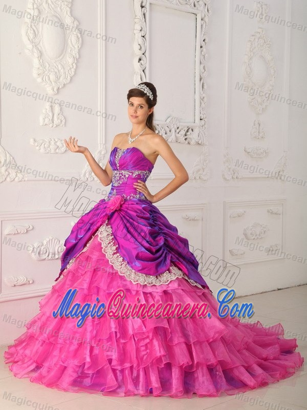 Cheap Hot Pink and Purple Ruffled Appliqued Quinceanera Dress ...