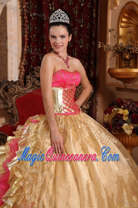 Gold and Pink Ball Gown Appliqued Sweet 15 Dresses in Chajul ...