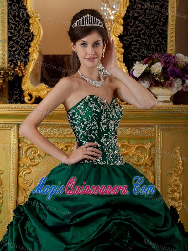 Dark Green Ball Gown Embroidery Quince Dresses in Cordoba - Magic ...