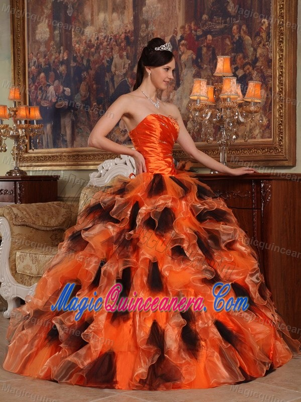 Orange and Black Rhinestones Ruffled Quinceanera Gown Dresses ...