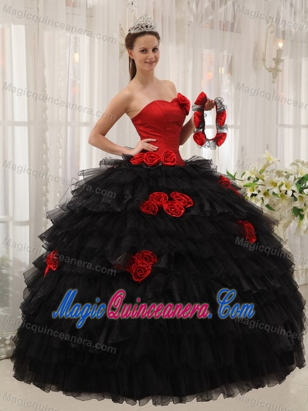 Red and Black Sweetheart Sweet Sixteen Dresses with Flowers ...