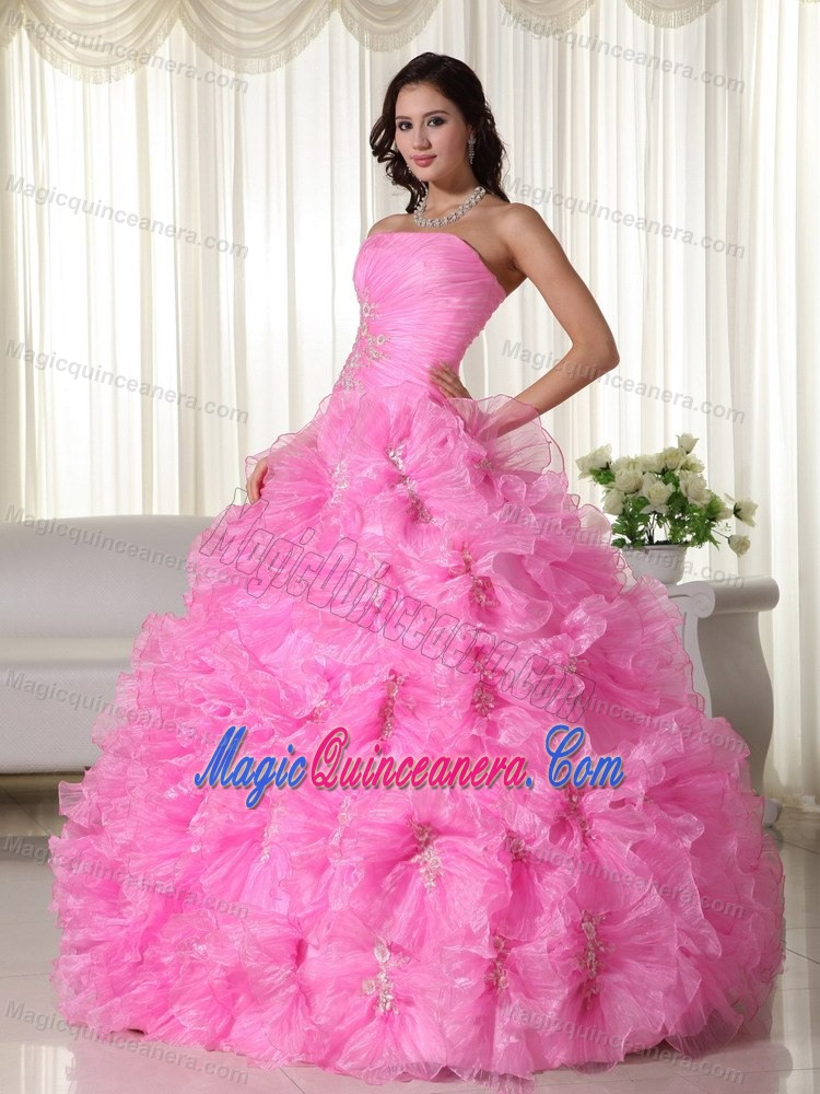 Plus Size Strapless Rolling Flowers Rose Pink Quinceanera Gown ...