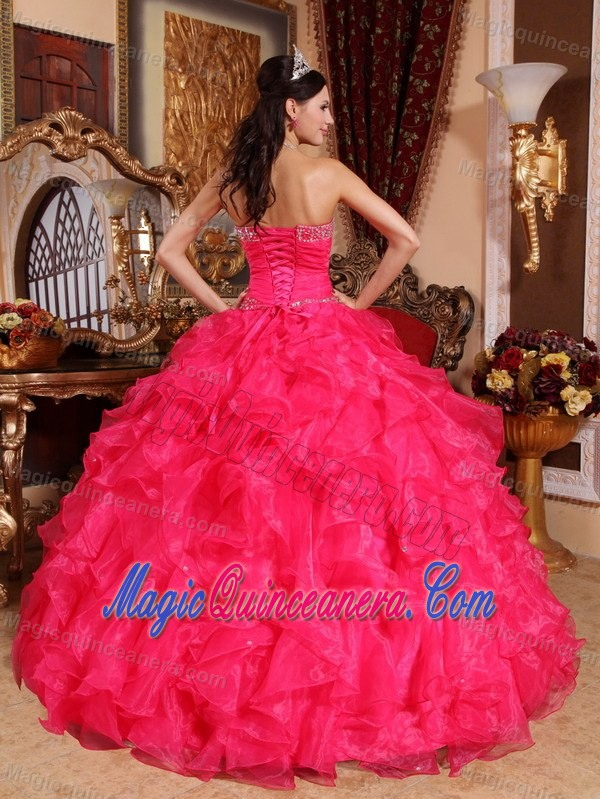 Coral Red Sweetheart Beaded Ruffled Organza Quince Dresses in ...