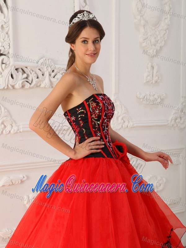 Black and Red Beaded Organza Appliques Sweet 15 Dresses in Clifton ...