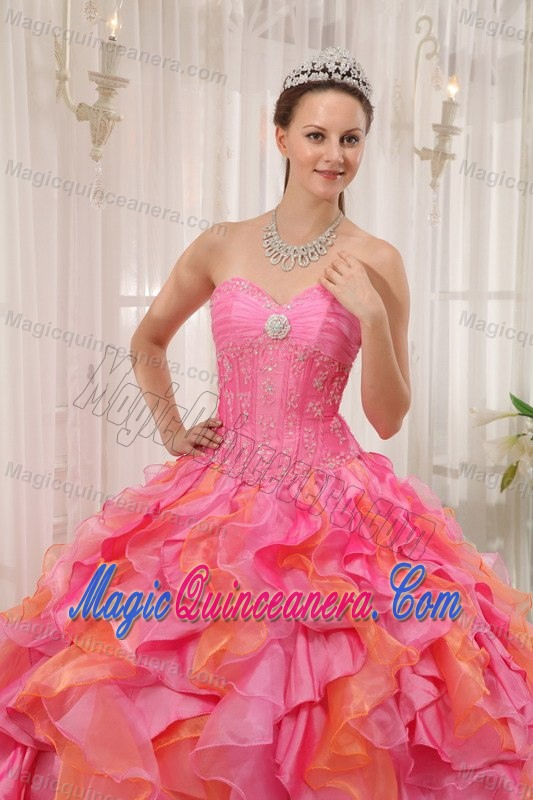 Multi-color Sweetheart Ruffled Organza Quinceanera Gown in Bath