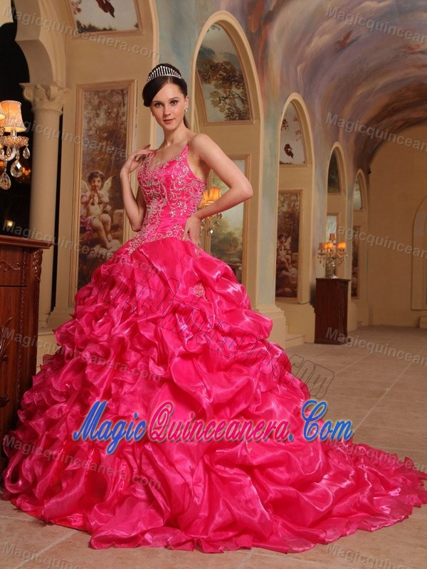 Red Spaghetti Straps Organza Embroidery Quinceanera Dress in Aachen