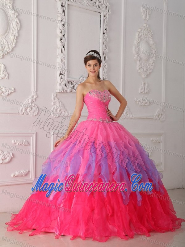 Pink Strapless Beaded Organza Ruffles Quinceaneras Dress in Clifton