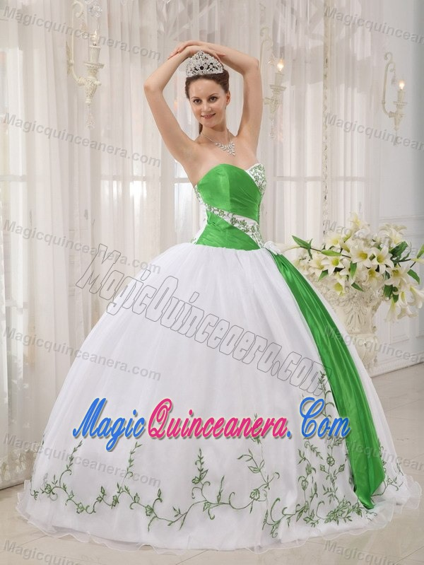 White and Green Organza Embroidery Quinceanera Dress in Antrim ...