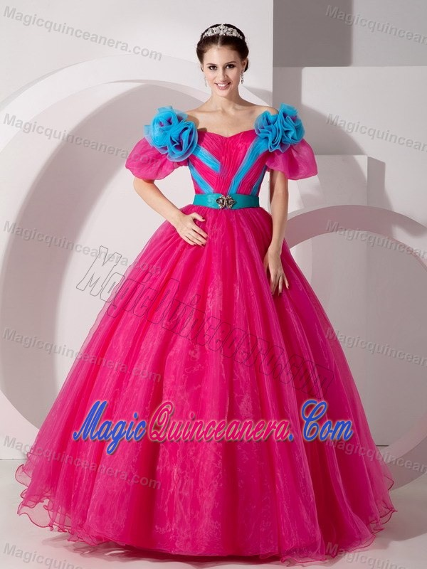 Two-toned Short Sleeves Cinderella Quinceanera Party Dress - Magic ...