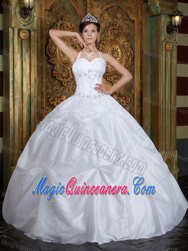 Angel White Halter Top Pick-ups Quinceanera Dress Beading Appliques