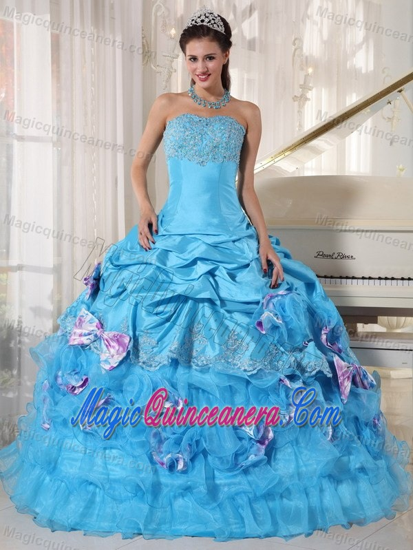 Amazing Pick-ups and Appliques Quinceanera Party Dresses with Bow ...