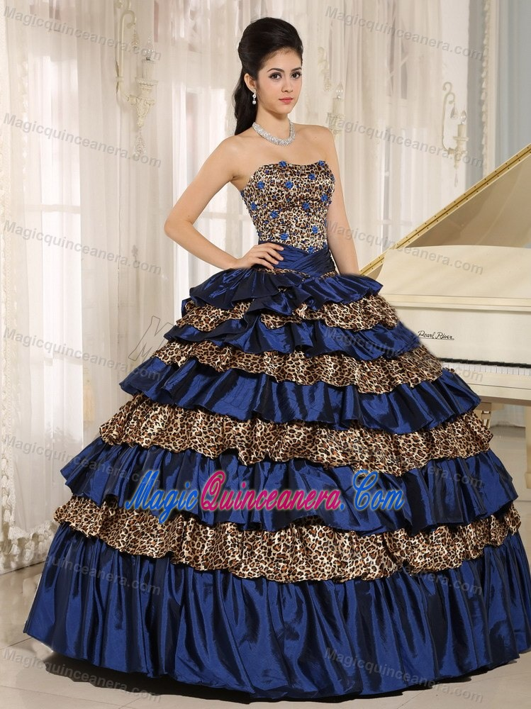 Beading and Ruffled Layers Navy Blue Sweet 16 Dresses of Leopard ...