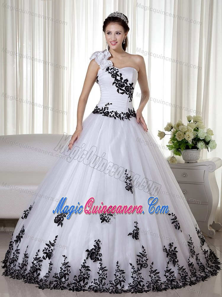 White and Black One Shoulder Sweet 16 Dresses with Appliques 2013 ...