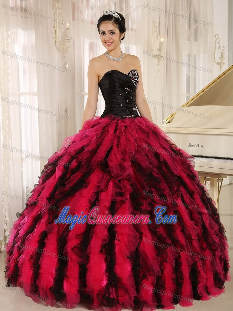 Black and Red Ball Gown Sweetheart Sweet 15 Dresses with Beading ...
