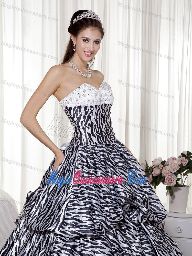 Black and White Quinceanera Dress with Zebra Print Fabric and Ruches