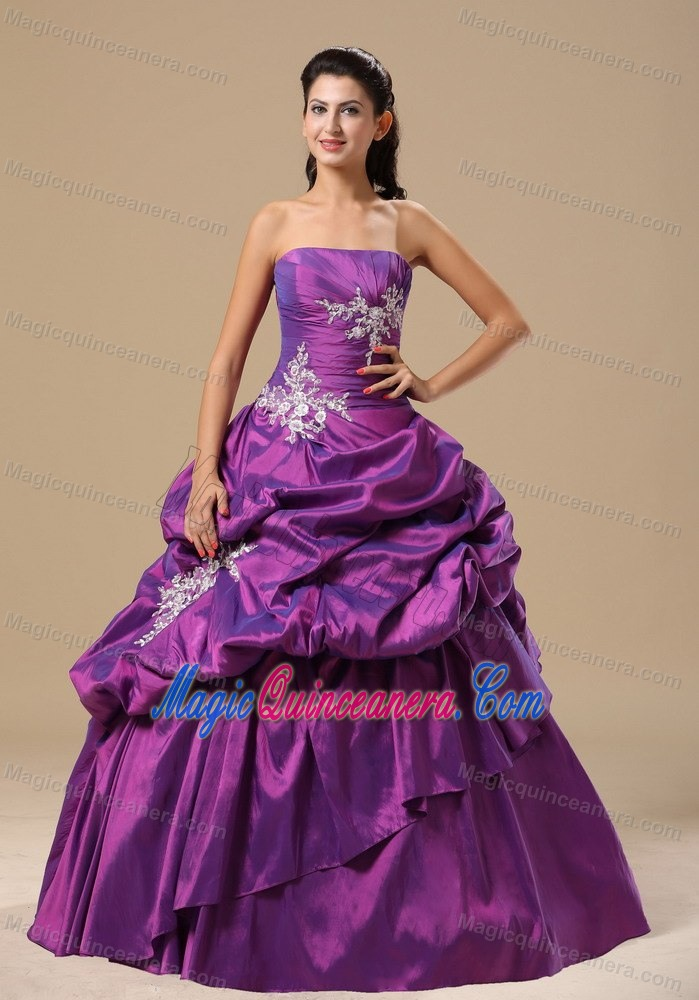 Purple Strapless Sweet 16 Dress with Silver Appliques and Pick-ups ...