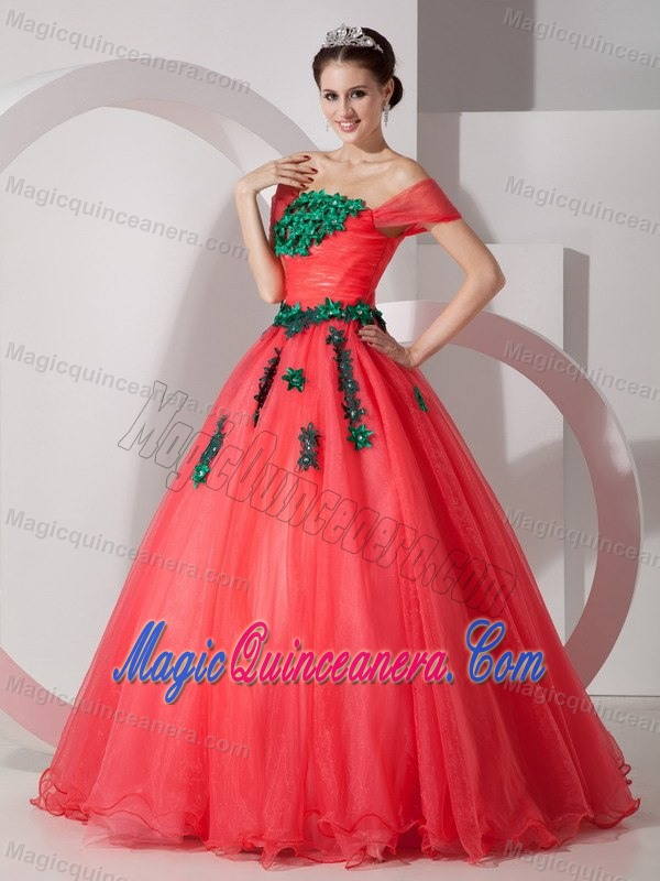 red and green quinceanera dress