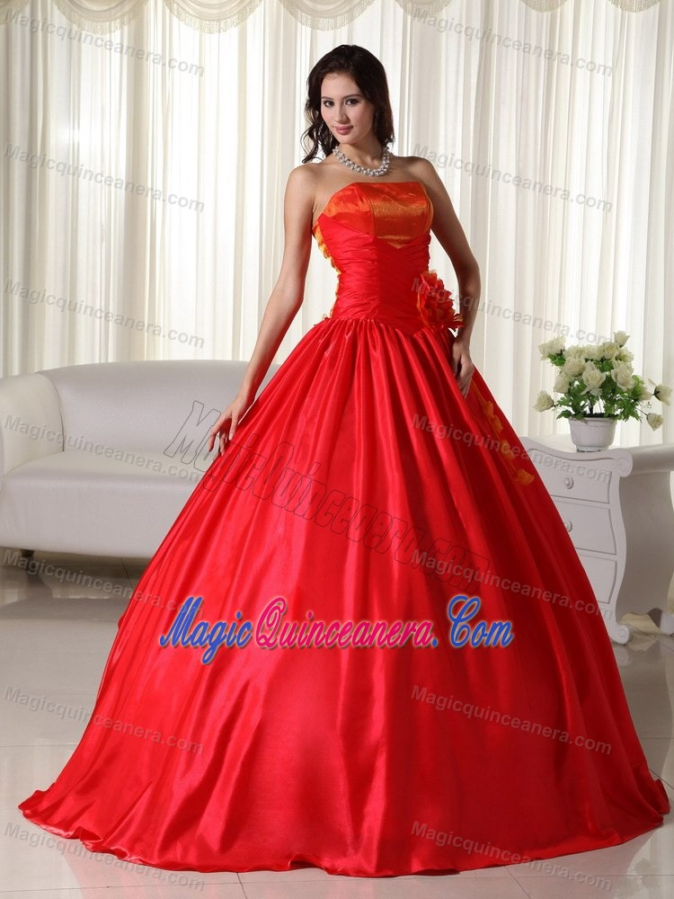 Taffeta Strapless Red Sweet 16 Dress With Ruches And Hand