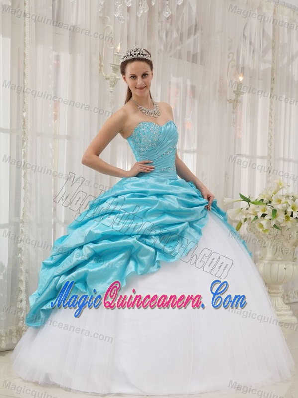 7eecb1bba2 Aqua Blue and White Sweet 15 Dresses with Beading and Pick Ups over Skirt.  triumph
