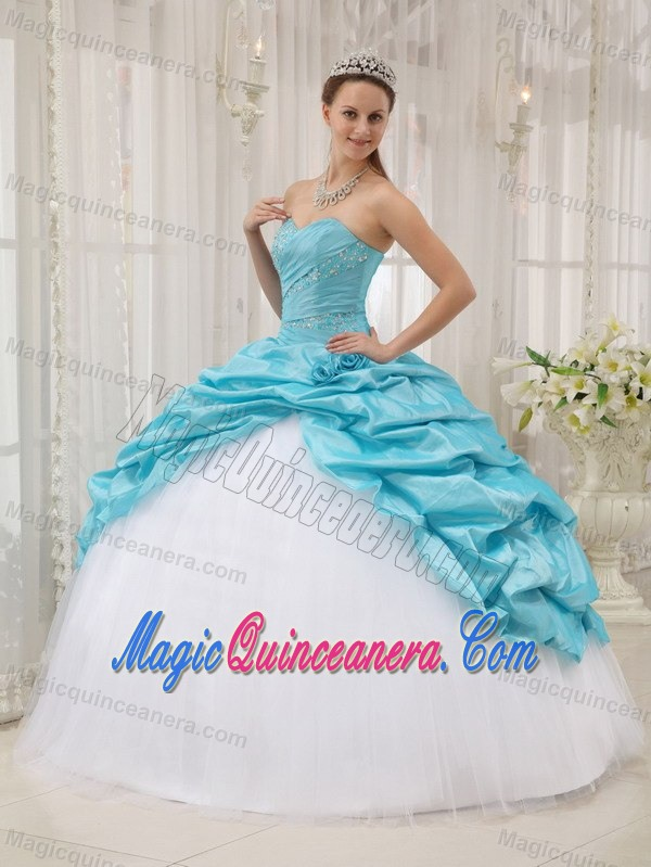 Aqua Blue and White Sweet 15 Dresses with Beading and Pick Ups ...