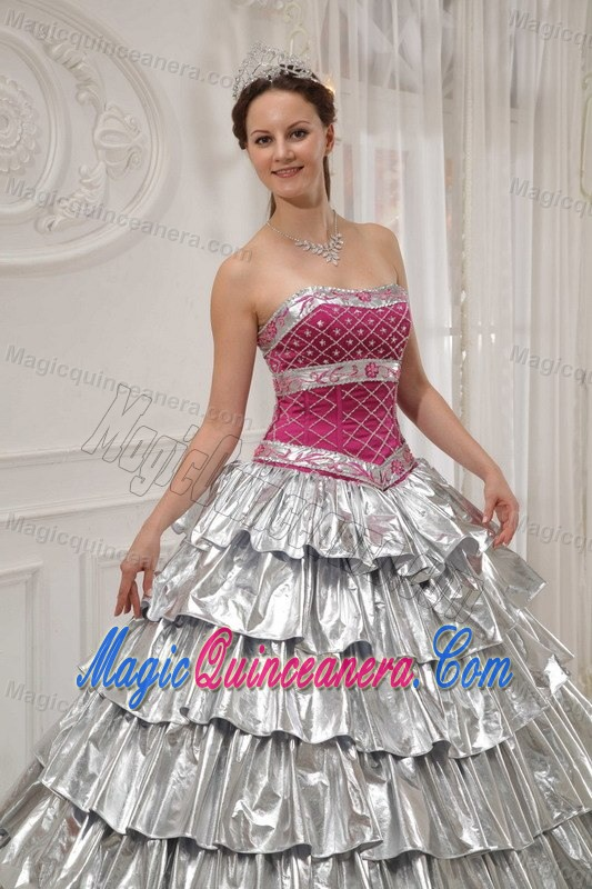 Pink and Silver Quinceanera Dress by Satin and Taffeta with BeadingQuinceanera Dresses Pink And Silver