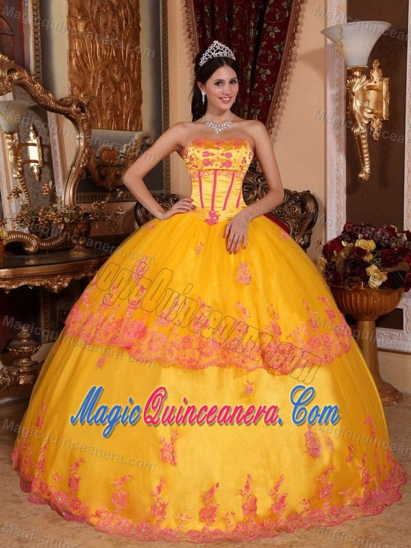 Gold Quinceanera Dress with Boning Details and red Lace Appliques ...