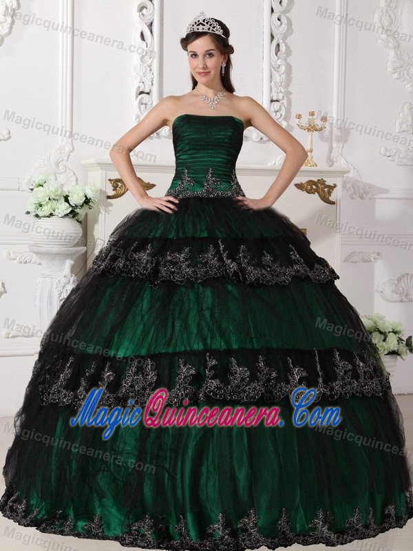 Dark Green and Black Quinceanera Dress by Taffeta and Tulle with ...